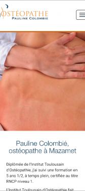 Capture d'écran du site internet mobile Osteopathe Pauline Colombie