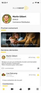 Capture d'écran application iOS et Android Klubnest