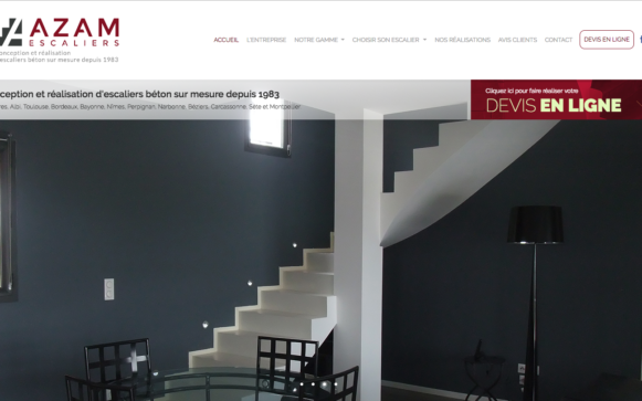Capture d'écran du site internet Azam Escaliers