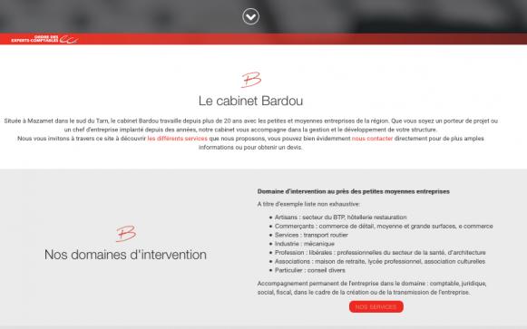 Capture d'écran du site internet Cabinet Bardou