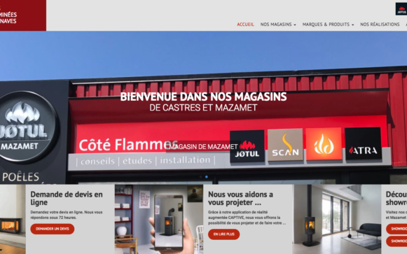 Capture d'écran du site internet Côté Flammes