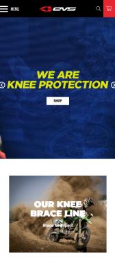Capture d'écran du site internet mobile EVS Sports