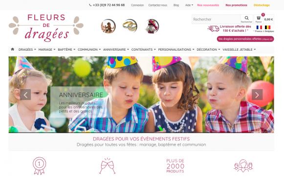Capture d'écran du site internet Fleur de Dragées