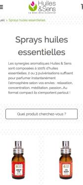 Capture d'écran du site internet mobile Huile et Sens