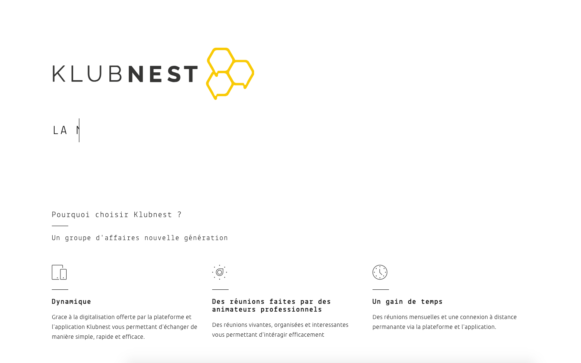 Capture d'écran du site internet Klubnest