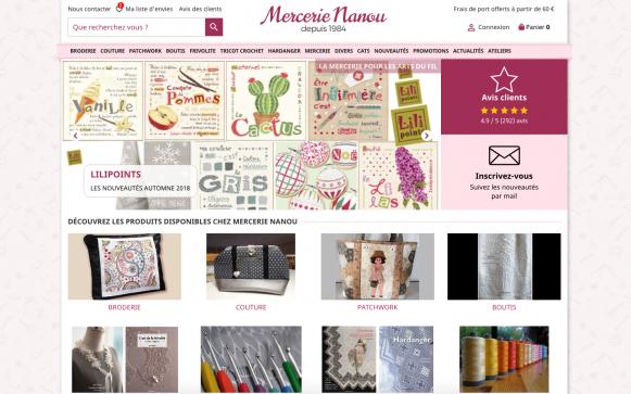 Capture d'écran du site PC Mercerie Nanou
