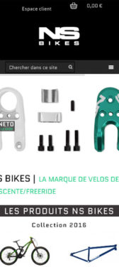 Capture d'écran du site internet mobile de NS Bikes