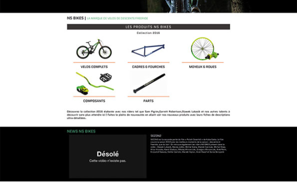 Capture d'écran du site internet NS Bikes