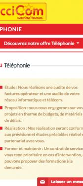Capture d'écran du site internet mobile Occicom