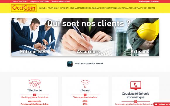 Capture d'écran du site internet Occicom