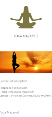 Capture d'écran du site internet mobile Yoga Mazamet