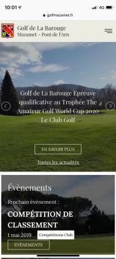 Capture d'écran du site mobile du golf mazamet