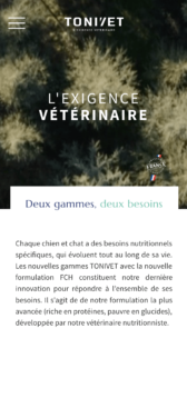 Capture d'écran mobile site Tonivet