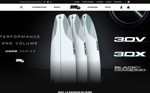 Rendu du site DHD Surf version PC